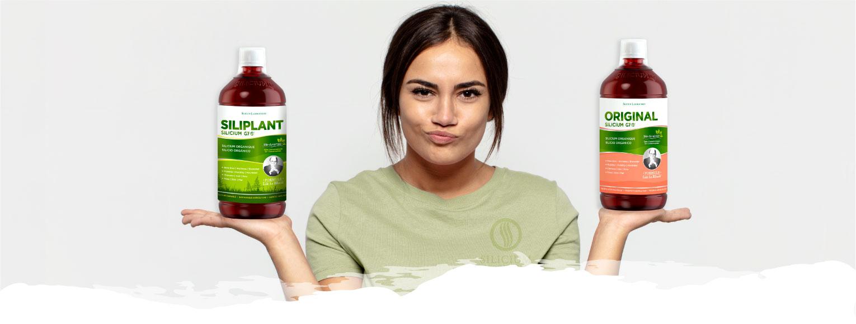 chica con botella de Silicium G7 Siliplnant y  Silicium G7 Original